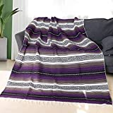 Eccbox 72 X 51 Inch Mexican Throw Blanket with Assorted Bright Colors Woven Mexican Falsa Serape Blankets for Yoga, Picnic, Bedding, Home Decor, Tablecloth (Purple)