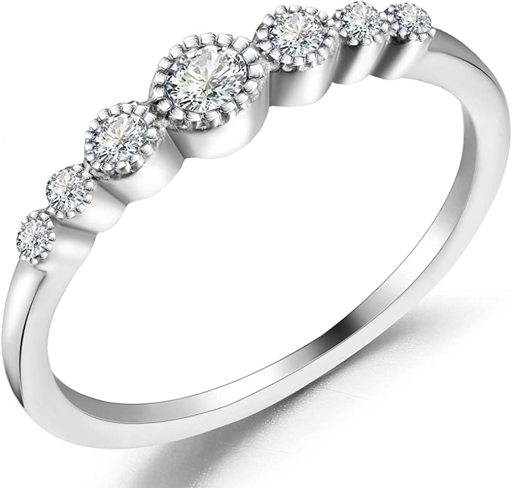 Stainless Steel Seven Stone Stackable Wedding Promise Statement Eternity Ring
