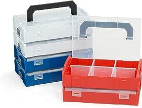Bosch Sortimo L Boxx Mini | Juego de 6 Surtido de Colores | Cada 2 Gris Azul Rojo | Caja de Almacenaje Tornillos con Tapa | Tornillos Clasificación