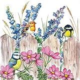 20 tovaglioli con uccelli e fiori sulla recinzione | animali...