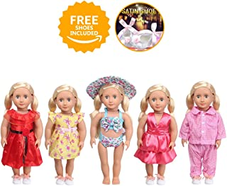 GOPOWD 18 Inch American Girl Doll Clothes Wardrobe Makeover - 5 Outfits with 1 Pair Elegant Shoes for My Life Doll, Our Generation, Journey Girl Dolls Accessories