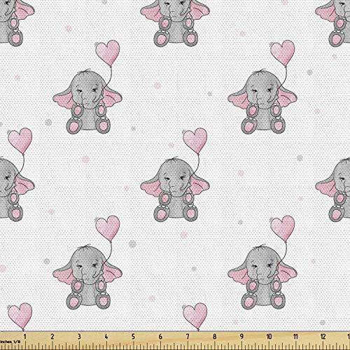 AMBESONNE 코끼리 동 직물에 의해 야드 코끼리 마음을 잡고 모양의 핑크 풍선은 소녀의 디자인 장식적인 직물 실내 장식품을 위한 및 가스 2 개의 야드 핑크색