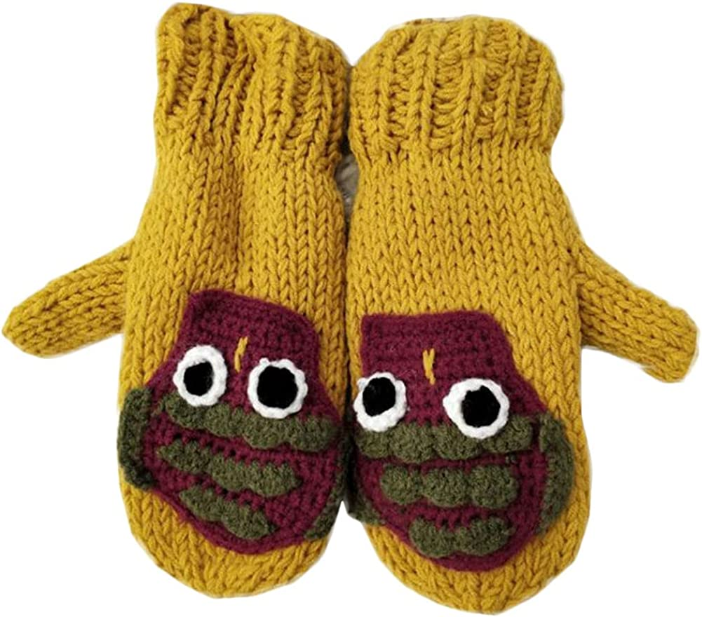 Winter Mittens For Women Cute Knit Cartoon Mitten Warm Fluffy Glove Cycling Running Work Cold Weather
