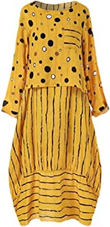Women Vintage Print Polka Dots Striped Two-Piece O-Neck Maxi Dress