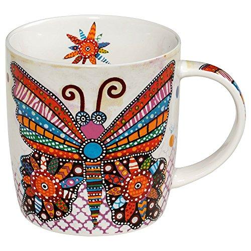 Maxwell & Williams DI0101 Smile Style - Taza (porcelana, 370 ml), diseño de mariposa, multicolor