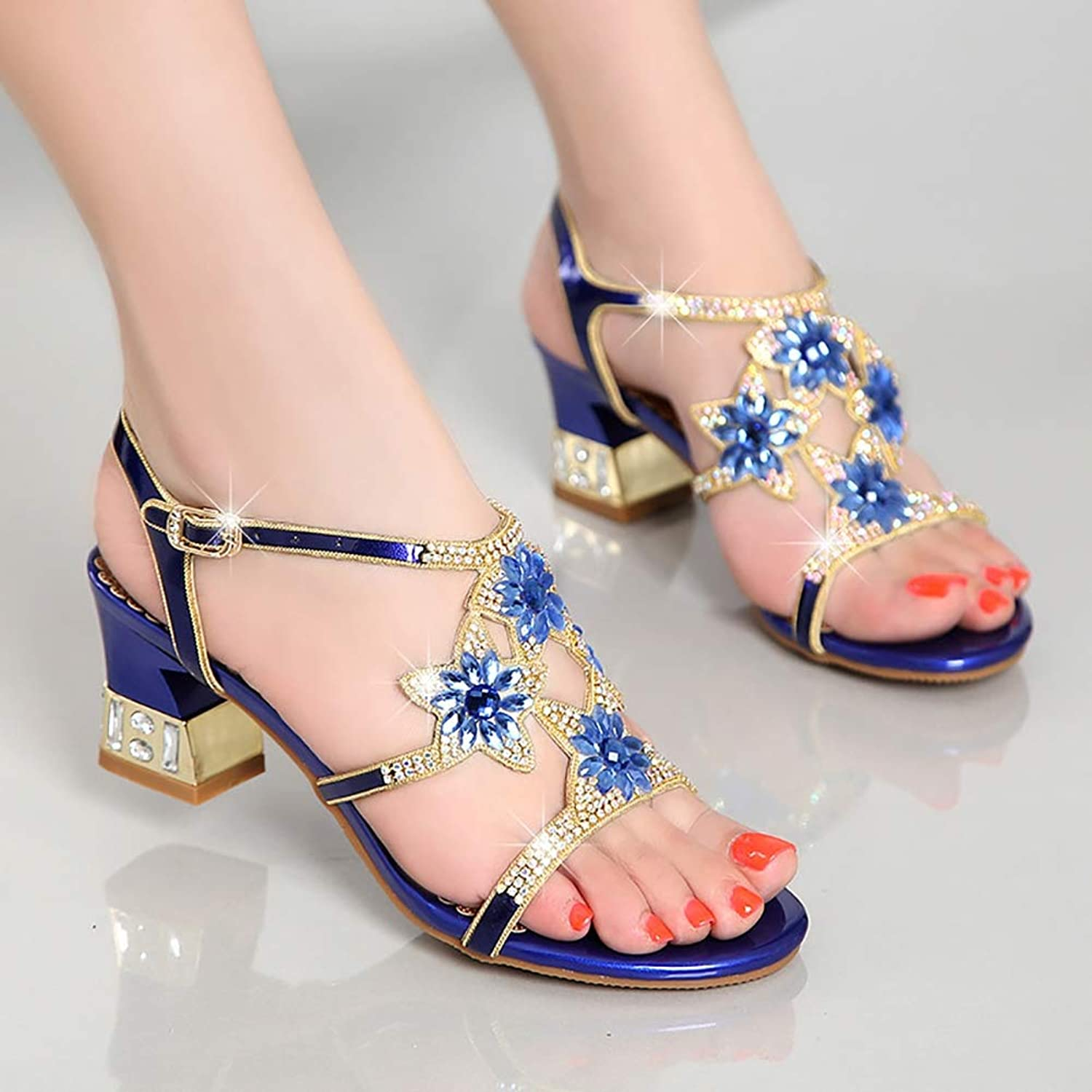 Women's Nappa Leather Glitter Summer Club shoes Sandals Chunky Heel Rhinestone gold Purple bluee Party & Evening Party & Evening