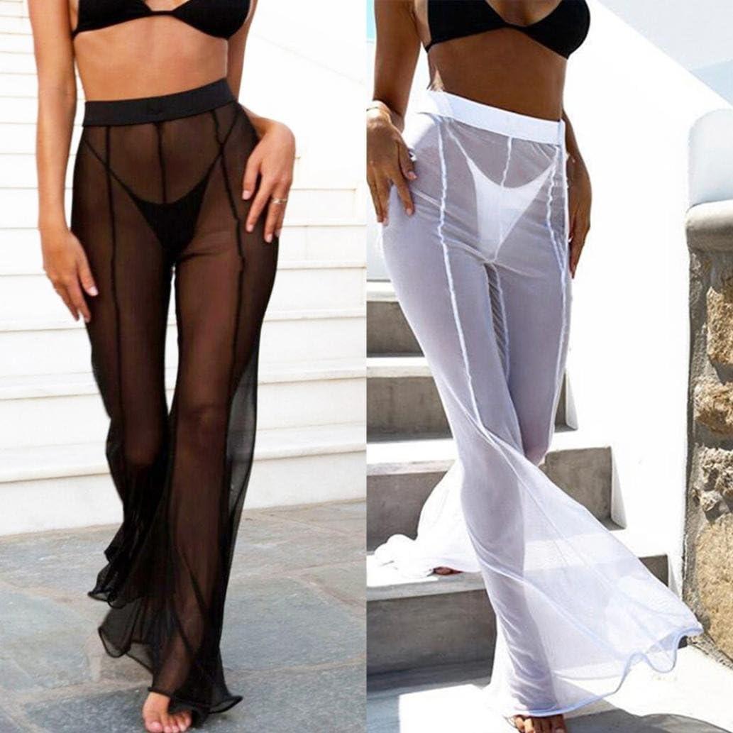 Pantalones transparentes de malla perla para mujer largos transparent Traje