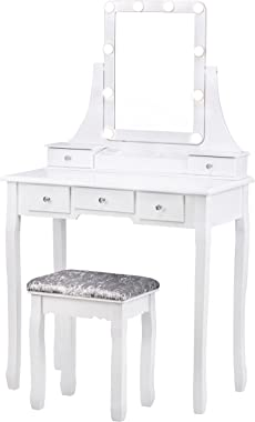 Vanity Table with Lighted Mirror, Makeup Dressing Table with 10 Lights and 5 Drawers,Detachable Top and 360 Rotation Mirror,
