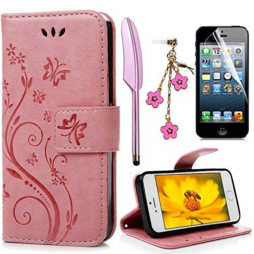 iPhone 5 5S SE Wallet Hülle iPhone 5 5S SE Flip Hülle YOKIRIN Schmetterling Blumen Muster Handyhülle Schutzhülle PU Leder Hülle Skin Brieftasche Ledertasche Tasche im Bookstyle in Rosa