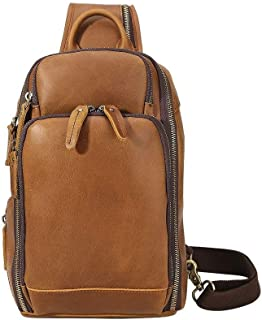 AMAZACER Vintage Men Leather Chest Sling Bag Casual USB Charging Shoulder Sports Crossbody Bags with (Color : Brown)
