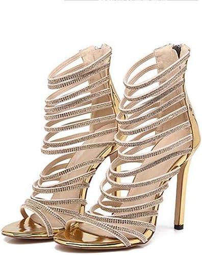 11cm Stiletto Pompe Open Toe Creux Strass Sandales Robe Chaussures Femmes Simple Couleur Pure Zipper Parti Chaussures OL Court Chaussures Roma Chaussures Eu Taille 34-42