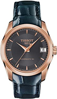 Tissot Women's Couturier 316L Stainless Steel case with Rose Gold PVD Coating Swiss Automatic Watch with Leather Strap, An...