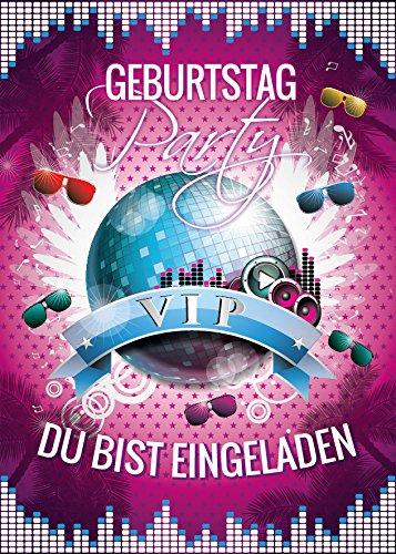 JuNa-Experten 12 Einladungskarten Geburtstag VIP Einladungen Disco-Party Erwachsene Kinder Mädchen Jungen Kindergeburtstag Geburtstagseinladungen Kartenset