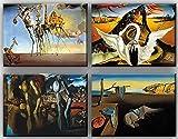 time4art Salvador Dali Print Canvas 4 Bild 4 x 40x30cm Leinwand auf Keilrahmen The Persistence of Memory Bacchanale Die Beständigkeit der Erinnerung