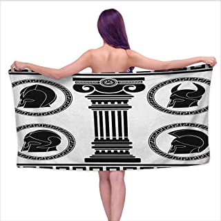 Andasrew Soft Bath Towel Toga Party,Patterned Circular Frames with Antique Accessories Spartan Classic Costume, Black and White,W20 xL39 for bathrooms, Beaches, Parties