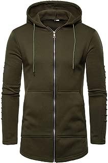 YANYUN Hoodies for Men Zip Up Pleated Sleeve Splicing Fall Winter Warm Fashion 2019 Pullover Sweatshirt Outwear Tracksuits