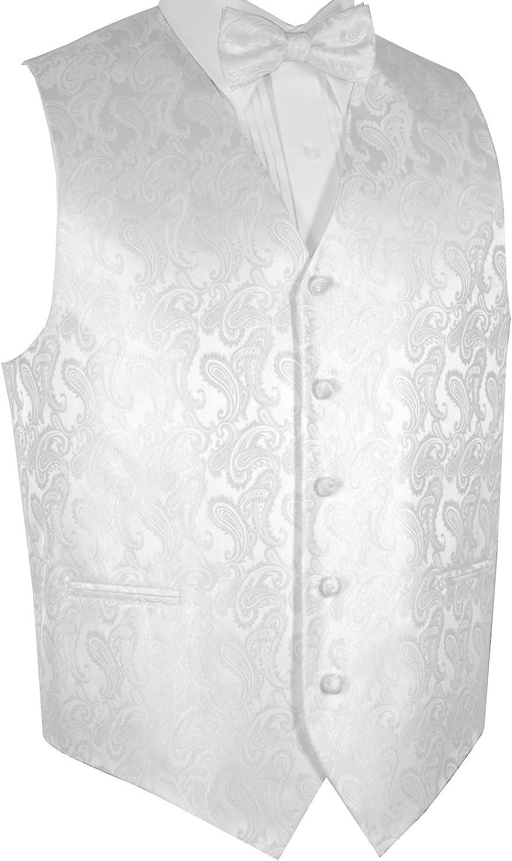 3d20957b6 Brand Q Q Q Men's Formal, Wedding, Prom, Tuxedo Vest & Bow-Tie Set in White  Paisley 2e514b