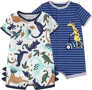 Bebé Niños Monos 2 Piezas - Verano Pijama de Algodón Mameluco de Manga Corta Animales Pelele para Recién nacido 6-9 Meses