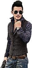 JYDress Men's Herringbone Tweed Tuxedo Vest Formal Slim Fit Vest