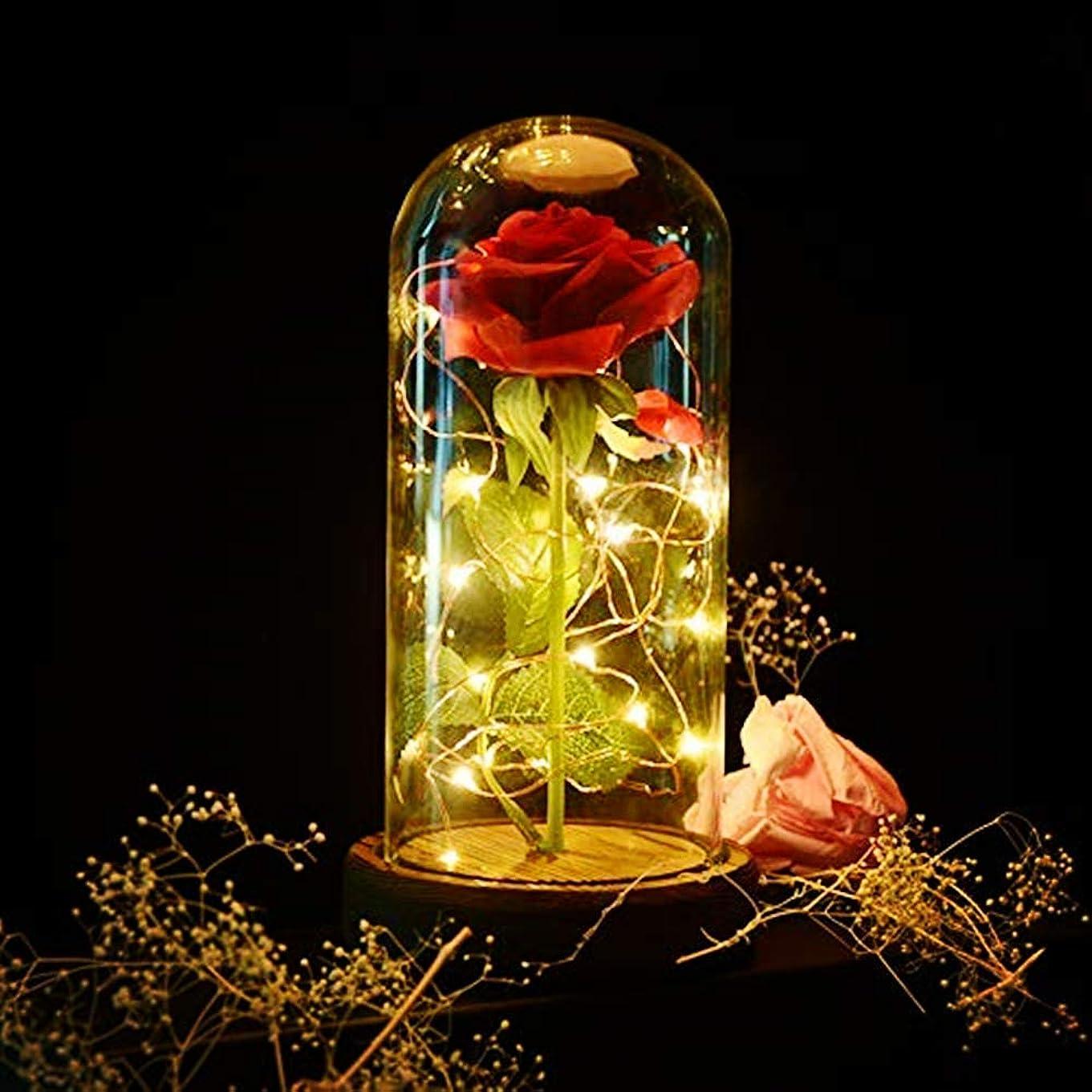使役それに応じてカウントShirylzee バラ LED 造花 ライト キラキラ ローズ ライト 電池式 雰囲気作り バレンタイ ホワイトデー 用 ギフト インテリア飾り 母の日、クリスマス、誕生日、記念日、結婚式 お祝い 贈り物 プレゼント 永遠の愛 (ライト/木製ベース/ガラスカバー)