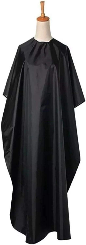 K5 International Capa de Peluqueria Profesional Bata Peluqueria Capas Barbero Cortar Pelo Delantal Impermeable Adecuado para Hombres, Mujeres y Niños (Negra)