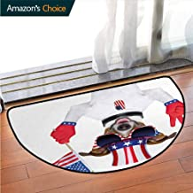 4th of July Soft Super Water Absorbent Multi-Purpose, Funny Pet Dog with an Uncle Sam Hat Holding a Peace Sign and an American Flag Printed Door Mat Fit for Living Room W35.5 x R19.7 Inch Multicolor