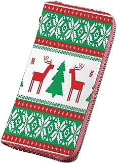 クリスマスの装飾 【新モデル】財布 メンズ 長財布 渦巻く装飾品ボールプリント ラウンド ファスナー開閉/二つ折り長財布 ブルーゴールドと幸せな新年のパーティーの装飾