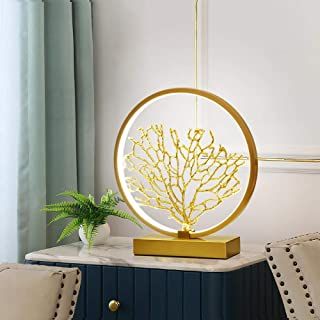 Lámpara de mesa nórdica, cuerno de bronce, coral, lámpara de sala de estar, lámpara de noche LED creativo minimalista moderno-[Grande] Árbol de coral dorado / Atenuación de tres velocidades