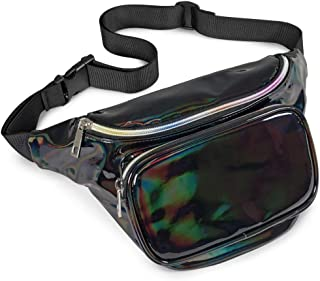Holographic Fanny Pack for Women and Men - BuyAgain Waterproof Fashion Neon Waist Pack Belt Bags for Festival Rave Outdoor Travel, Black