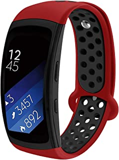 Compatible Samsung Gear Fit2 /Fit2 Pro Band,Soft Silicone Replacement Strap Sport Band Bracelet Wristband Samsung Fit2 SM-R360 /Fit 2 Pro SM-R365 SmartWatch Fitness (newRed-Black)