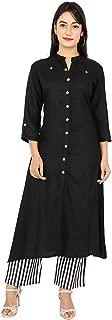 Sunrise Paridhan Women's Rayon Kurti With Rayon Pant Straigst Kurti With Golden Print Button (Size-XL)