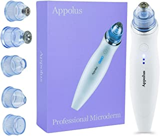 Microdermabrasion Machine Wireless -Appolus Premium Diamond Microdermabrasion Kit For Flawless Lifted Skin-2 Different Size Diamond Tips-5 Heads-Line Wrinkle Eraser-Blackhead Remover Vacuum Tool