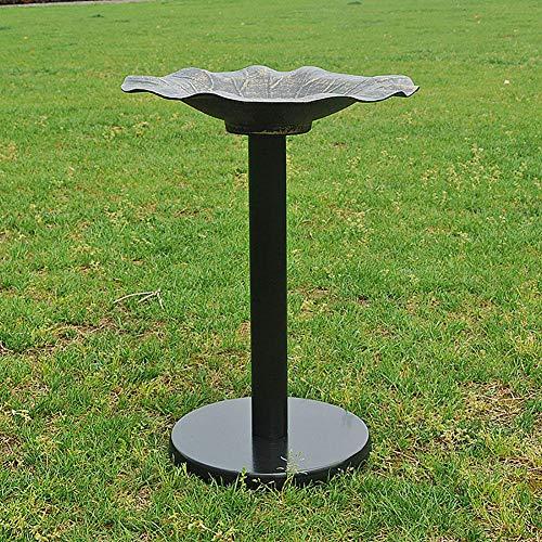 REAMIC Garden Bird Bath Pedestal Water Bowl Traditional Outdoor Aluminum Bird Bowl,Black