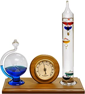 Lily's Home Analog Weather Station, with Galileo Thermometer, Glass Barometer, and Analog Hygrometer, 5 Multi-Colored Spheres (10.5 in x 12 in)