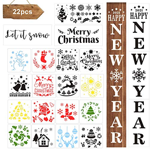 22PCS Christmas Stencils Let It Snow Stencil for Painting on Wood Including Reusable Merry Christmas Large Happy New Year Letter Stencils Porch Sign for Craft Farmhouse Outdoor