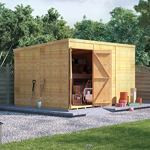 BillyOh Expert Tongue & Groove Wooden Shed, Workshop Shed with Pent Roof (Windowless, 12x8)