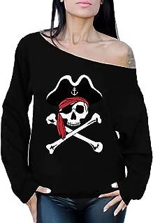 Awkward Styles Jolly Roger Skull Sweatshirt Off Shoulder Jolly Roger Tops