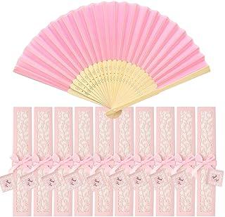 Sweieoni 10pcs Abanico Rosa Abanico Plegable de Mano Rosa Abanico Decoración Plegable Bambú Ventilador Banquete de Boda Re...