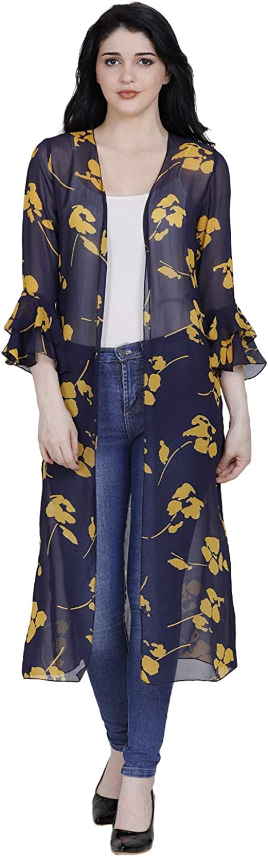 Fragrant Flower Women's Georgette Long Kimono Sheer Loose Cardigan Lightweight Breathable Cover ups Floral Print Shrug