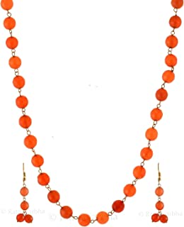 Ratnagarbha orange color quartz faceted round beaded golden chain necklace set with earrings, long necklace, daily,party,o...