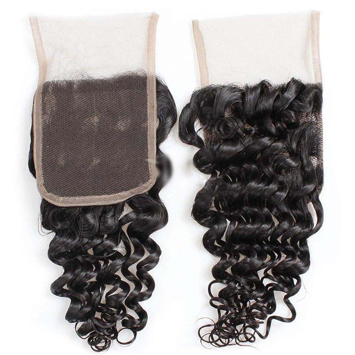オリエント可愛い記念品YESONEEP 9Aブラジルディープウェーブヘア4×4インチレース前頭部閉鎖100%未処理人間の髪の毛中央部自然な外観の複合毛レースかつらロールプレイングかつらロングとショートの女性自然 (色 : 黒, サイズ : 8 inch)