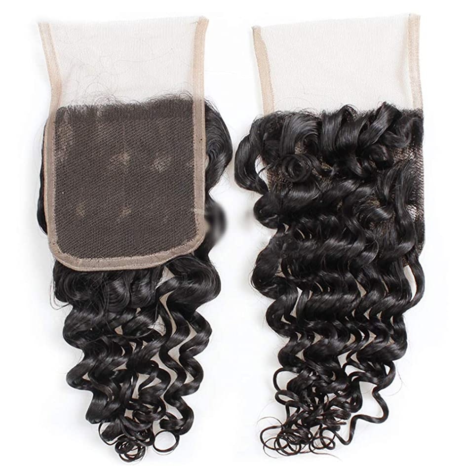 高尚なホームレスメタンBOBIDYEE 9Aブラジルディープウェーブヘア4×4インチレース前頭部閉鎖100%未処理人間の髪の毛中央部自然な外観の複合毛レースかつらロールプレイングかつらロングとショートの女性自然 (色 : 黒, サイズ : 12 inch)