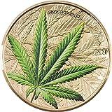 Power Coin Marijuana Cannabis Sativa Hoja Dorada 1 Oz Moneda Plata 1000 Francos Benin 2021