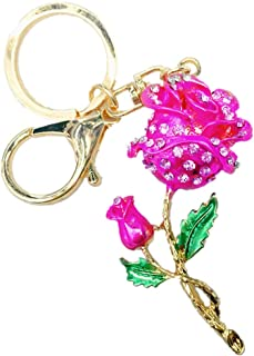 Axmerdal Roses Keychain Flower Keyring Crystal Rhinestones Purse Pendant Handbag Charm (Pink)