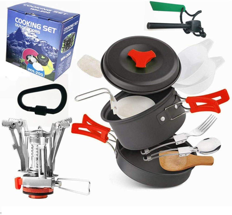 Camping Set Pot, 12 Person Combination Alumina Pot Outdoor Picnic Pot
