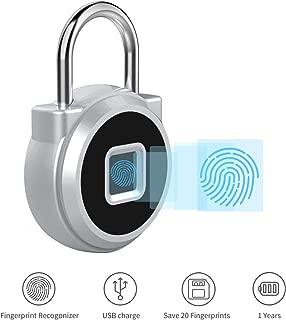 Fingerprint Padlock, SOOCOO Gym Lock Anti-Theft Keyless Biometric Security Lock with USB Charging,Keyless Lock Suitable for Sports,Backpack,Gym Locker,Toolbox,Luggage (P10)