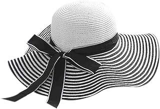 Hotaluyt Donne Ragazze Cappello a Strisce Beach Tesa Larga Femminile Lady Mare Affitto turistico Bow Sun della Paglia Cappello della Spiaggia cap