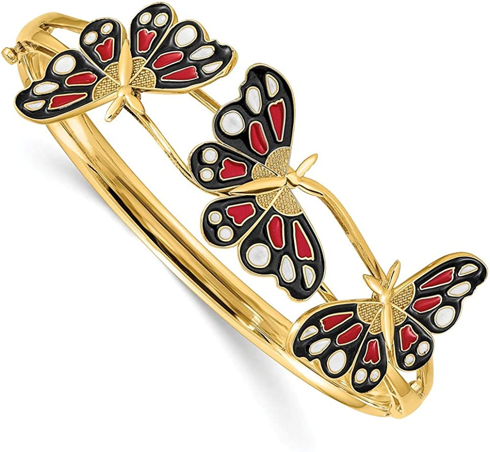 Solid 14k Yellow Gold Enameled Butterfly Hinged Bangle Cuff Bracelet 3/16 7