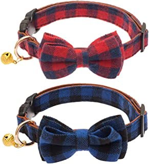 OFPUPPY Adjustable Bowtie Small Dog Collar with Bell Classic Plaid Puppy Collars 2 Pack