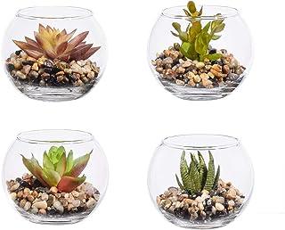 4 x Plantas Suculentas Artificiales,Bonsai Flores Artificiales Jardinera Suculenta Falso Plantas de Cactus Faux en Macetas Suculentas Pequeñas con Vaso Macetas de para Decoración de Oficina en Hogar